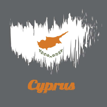 Brush style color flag of Cyprus, an outline of the country of Cyprus above twin olive branches. with name text Cyprus.