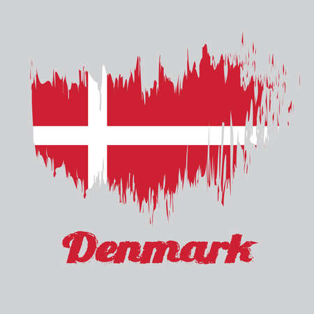Brush style color flag of Denmark, red with a white Scandinavian cross that extends to the edges of the flag. with name text Denmark.