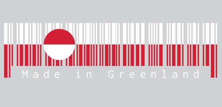Barcode set the color of Greenland flag, white and red color with a counterchanged disk slightly off-centre towards the hoist, text: Made in Greenland. concept of sale or business.