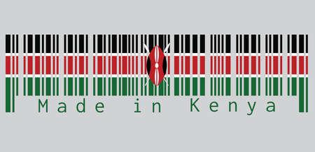Der Barcode stellte die Farbe der Kenia-Flagge ein, schwarz, weiß, rot und grün mit zwei gekreuzten weißen Speeren hinter einem roten und einem schwarzen Massai-Schild. Text: Hergestellt in Kenia. Konzept des Verkaufs oder Geschäfts.