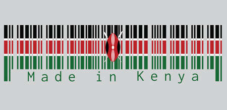 Il codice a barre ha impostato il colore della bandiera del Kenya, nero bianco rosso e verde con due lance bianche incrociate dietro uno scudo Masai rosso e nero. testo: Made in Kenya. concetto di vendita o di affari.