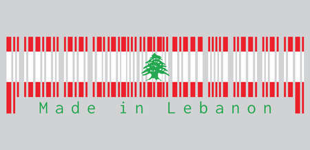 Barcode set the color of Lebanon flag, triband of red and white, charged with a green Lebanon Cedar. text: Made in Lebanon. concept of sale or business. Vectores