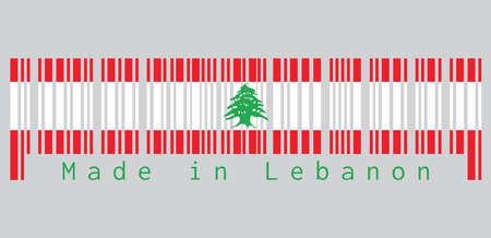 Le code à barres définit la couleur du drapeau du Liban, tribande de rouge et de blanc, chargé d'un cèdre du Liban vert. texte: Fabriqué au Liban. concept de vente ou d'entreprise.