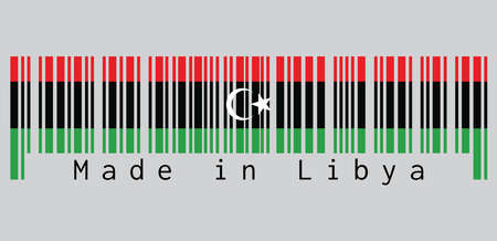 Barcode set the color of Liberia flag, red black and green with a white crescent and star. text: Made in Libya. concept of sale or business.