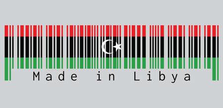 Le code à barres définit la couleur du drapeau du Libéria, rouge noir et vert avec un croissant et une étoile blancs. texte: Fabriqué en Libye. concept de vente ou d'entreprise.