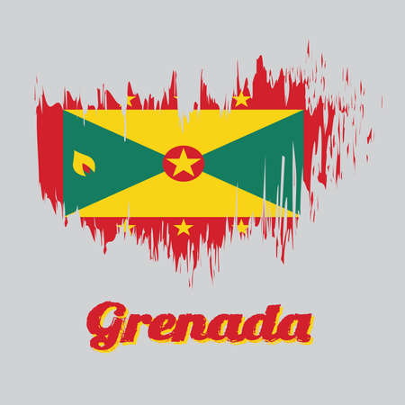 Brush style color flag of Grenada, red border with six Gold star, Gold and green triangles with red disk. with name text Grenada. Illustration