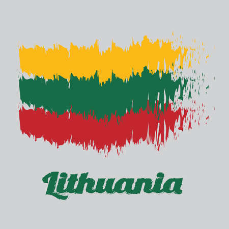 Brush style color flag of Lithuania Flag, horizontal yellow green and red, with name text Lithuania. Ilustração
