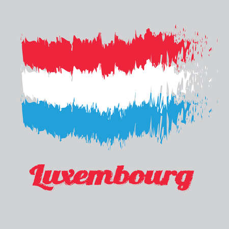 Brush style color flag of Luxembourg Flag, horizontal red white and light blue, with name text Luxembourg.