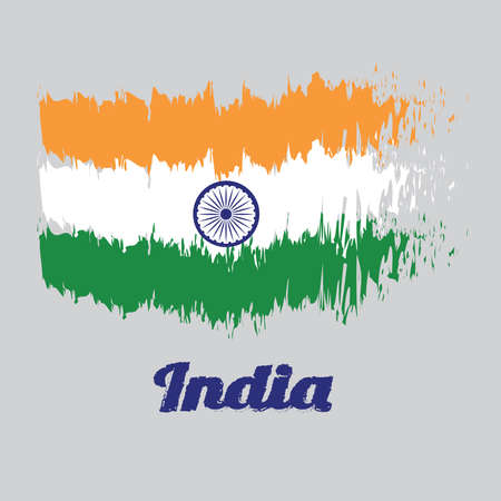 Brush style color flag of India Flag, tricolor of India saffron, orange white and green with the Ashoka Chakra wheel. with name text India.