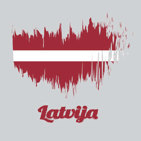 Brush style color flag of Latvia Flag, a carmine field bisected by a narrow white stripe, with name text Latvia.