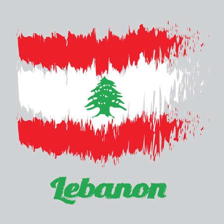 Bandera de color estilo pincel de la bandera del Líbano, tribanda de rojo y blanco, cargada con un cedro del Líbano verde. con texto de nombre Líbano.