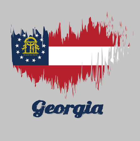 Brush style color flag of Georgia, Three stripes consisting of red, white, red. A blue canton containing a ring of 13 stars encompassing the coat of arms in gold. with text Georgia. Иллюстрация