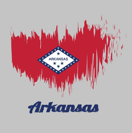 Brush style color flag of Arkansas, A rectangular field of red, a large white diamond, bordered by blue and the word 'Arkansas' and four blue stars, on the blue band are 25 stars.  with text Arkansas. Vettoriali