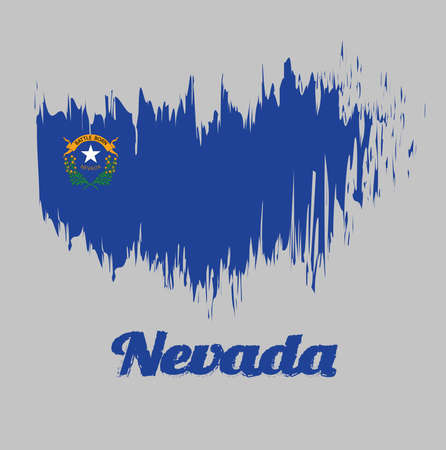 Brush style color flag of Nevada, Solid cobalt blue field. The canton contains two sagebrush branches encircling a silver star with the text Nevada and Battle Born. with text Nevada. Ilustração