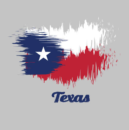 Brush style color flag of Texas, blue containing a single centered white star. The remaining field is divided horizontally into a white and red bar. with text Texas.