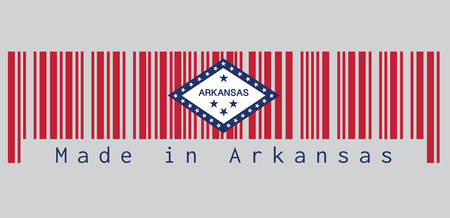 Barcode set the color of Arkansas flag, A rectangular field of red, a large white diamond, bordered by blue and the word 'Arkansas' and four blue stars, on the blue band are 25 stars, text: Made in Arkansas. concept of sale or business.