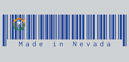 Barcode set the color of Nevada flag, Solid cobalt blue field. The canton contains two sagebrush branches encircling a silver star with the text Nevada and Battle Born. text: Made in Nevada.