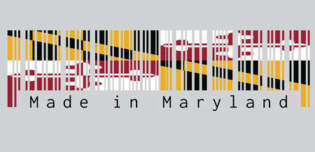 Barcode set the color of Maryland flag, Heraldic banner of George Calvert, 1st Baron Baltimore. text: Made in Maryland. concept of sale or business.