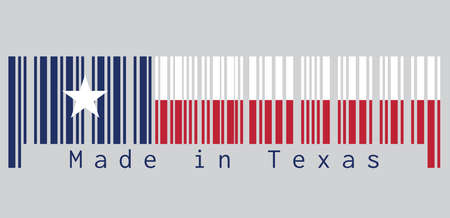 Barcode set the color of Texas flag, blue containing a single centered white star. The remaining field is divided horizontally into a white and red bar. text: Made in Texas.