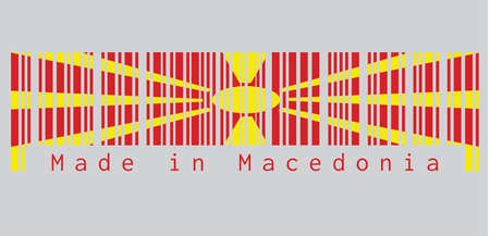 Le code à barres définit la couleur du drapeau de la Macédoine, le soleil jaune sur un champ rouge, avec huit rayons d'élargissement s'étendant du centre vers le bord. texte: Fabriqué en Macédoine. concept de vente ou d'entreprise.
