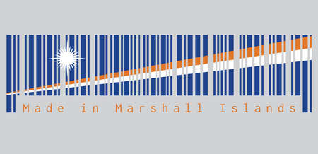 Barcode set the color of Marshall flag, A blue field with two diagonal stripes of orange and white and the large white star. text: Made in Marshall Islands. concept of sale or business.
