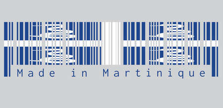 Barcode set the color of Martinique flag, Four white snake on blue field and white cross in the center. text: Made in Martinique. concept of sale or business.