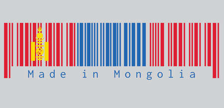 Barcode set the color of Mongolia flag, red and blue with the Soyombo symbol centred on the hoist-side of the red band. text: Made in Mongolia. concept of sale or business.