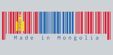 Le code à barres définit la couleur du drapeau de la Mongolie, rouge et bleu avec le symbole Soyombo centré sur le côté mât de la bande rouge. texte: Fabriqué en Mongolie. concept de vente ou d'entreprise.