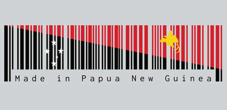 Barcode set the color of Papua New Guinea flag, triangle is red with the soaring Raggiana Bird of Paradise and the lower triangle is black with the Southern Cross of white star. text: Made in Papua New Guinea.
