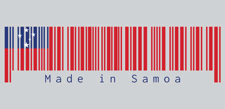 Barcode set the color of Samoa flag, A red field with the blue rectangle and white star. text: Made in Samoa, concept of sale or business. Illustration