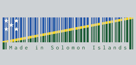 Barcode set the color of Solomon flag, A thin yellow narrow diagonal stripe divided diagonally with green and blue triangle and star. text: Made in Solomon Islands.