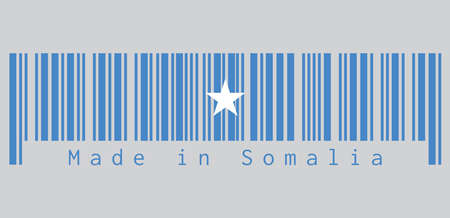 Barcode set the color of Somalian flag, a single white five-pointed star centered on a light blue field. text: Made in Somalia, concept of sale or business. Illustration
