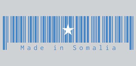 Le code à barres définit la couleur du drapeau somalien, une seule étoile blanche à cinq branches centrée sur un champ bleu clair. texte: Fabriqué en Somalie, concept de vente ou d'entreprise. Vecteurs