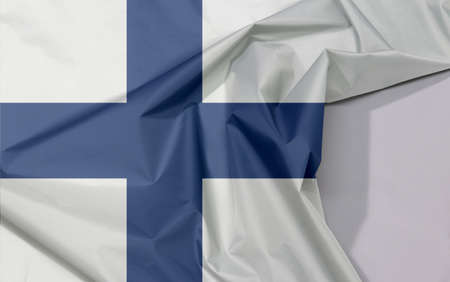 Finland fabric flag crepe and crease with white space, Sea blue Nordic cross on a white field.
