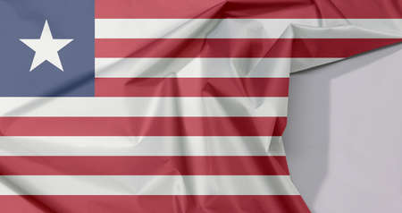 Liberia fabric flag crepe and crease with white space, Eleven horizontal stripes of red and white with white star on a blue field.