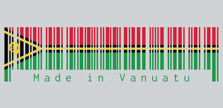 Barcode set the color of Vanuatu flag, red and green with black and yellow color boar's tusk encircling two crossed fern fronds in the center and the golden pall. text: Made in Vanuatu. Vektoros illusztráció