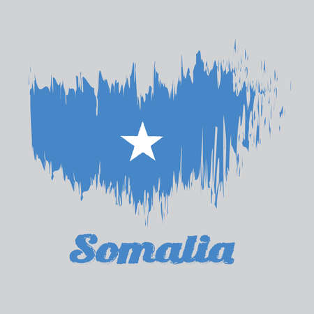 Brush style color flag of Somalian, a single white five-pointed star centered on a light blue field with text Somalia. Vector Illustratie