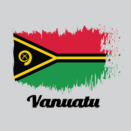 Brush style color flag of Vanuatu, red and green with black and yellow color boar's tusk encircling two crossed fern fronds in the center and the golden pall with text Vanuatu.