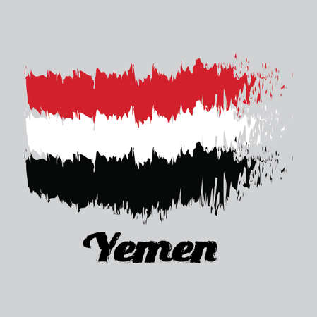 Brush style color flag of Yemen, a horizontal tricolor of red, white and black with text Yemen.