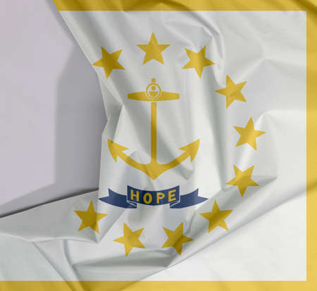 Rhode Island fabric flag crepe and crease with white space, The states of America, Gold anchor, surrounded by 13 gold stars. A blue ribbon below the anchor contains the text