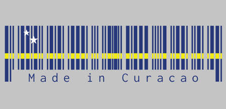 Barcode set the color of Curacao flag, blue field with a horizontal yellow stripe slightly below the midline and two white stars. text: Made in Curacao, concept of sale or business.