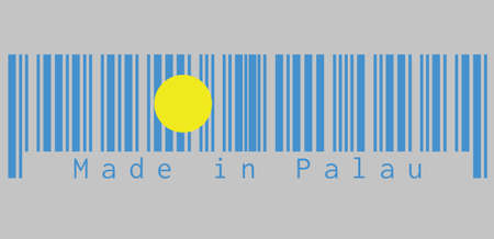 Barcode set the color of Palau flag, A light blue field with the large yellow disk shifted slightly to the hoist-side of center. text: Made in Palau, concept of sale or business.