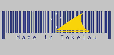 Le code-barres définit la couleur du drapeau des Tokélaou. Un champ bleu clair avec le grand disque jaune s'est légèrement déplacé vers le côté mât du centre. texte : Made in Tokelau, concept de vente ou d'entreprise.
