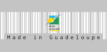 Barcode set the color of Guadeloupe Region flag, sun and bird on a green and blue square with the subscript REGION GUADELOUPE underlined in yellow. text: Made in Guadeloupe, concept of sale or business. Иллюстрация