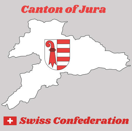 Map outline and Coat of arms of Jura, The canton of Switzerland with name text Canton of Jura and Swiss Confederation.