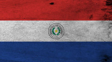 Flag of Paraguay on wooden plate background. Grunge Paraguay flag texture, a horizontal triband of red, white and blue, with the coat of arms of Paraguay.