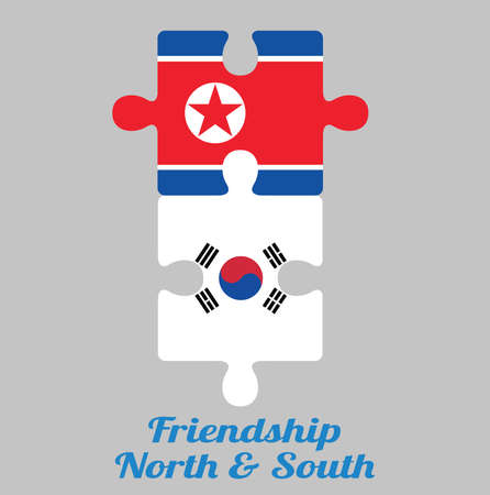 Jigsaw puzzle of North Korea flag and South Korea flag with text: Friendship North & South. Concept of Friendly or good compatibility between both countries.