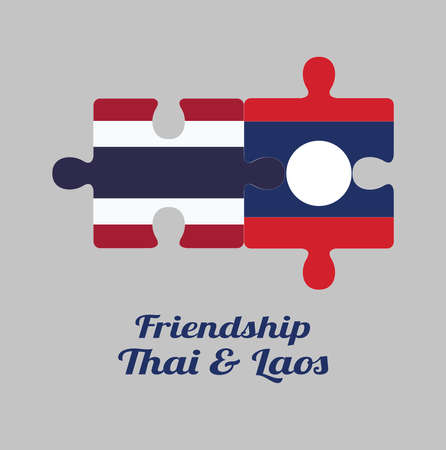 Jigsaw puzzle of Thailand flag and Laos flag with text: Friendship Thai & Laos. Concept of Friendly or good compatibility between both countries. Ilustração