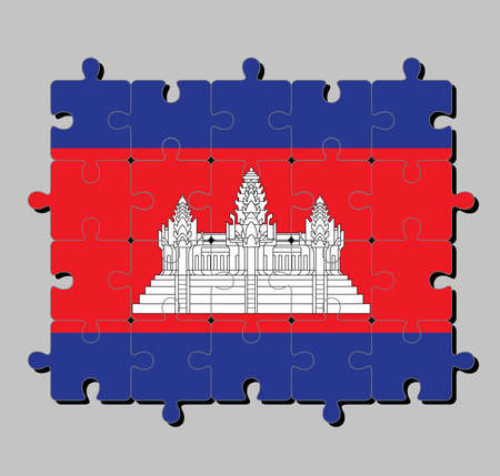 Jigsaw puzzle of Cambodia flag in blue red and white color with black line of Angkor wat. Concept of Fulfillment or perfection.