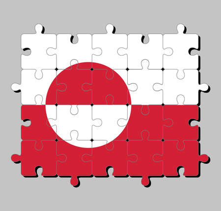 Jigsaw puzzle of Greenland flag in white and red color with a counterchanged disk slightly off-centre towards the hoist. Concept of Fulfillment or perfection. Ilustracja